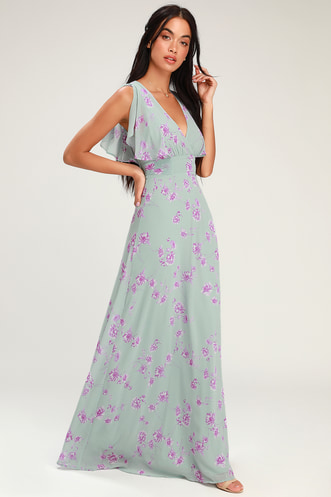 Dearly Loved Sage Green Floral Print Flutter Sleeve Maxi Dress 4165a3630