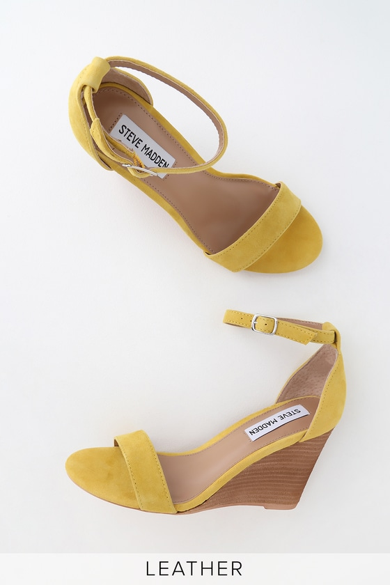 bf9cd7cb846 Steve Madden Mary - Yellow Wedges - Genuine Suede Wedges