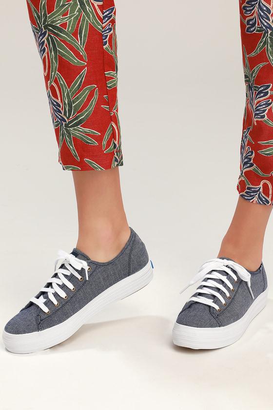 c04990373e2db Keds Triple Kick - Chambray Blue Sneakers - Platform Sneakers