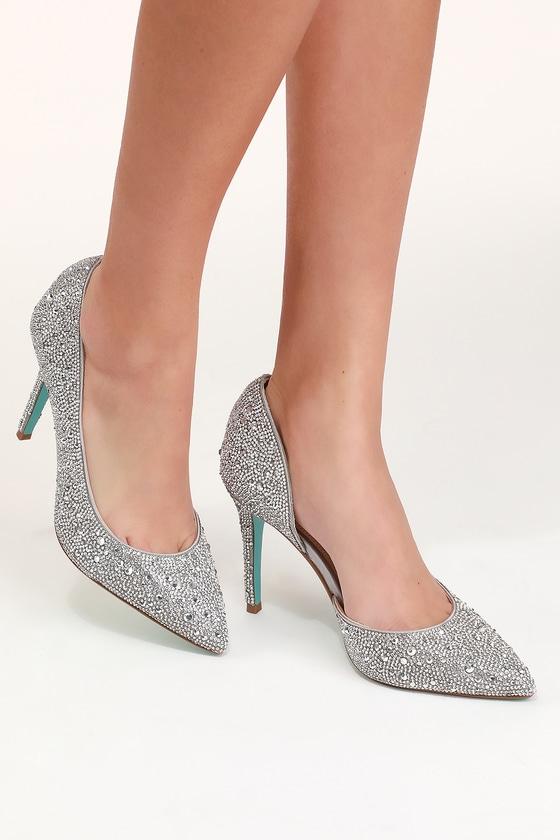1a36407506109 Blue by Betsey Johnson Hazil - Rhinestone Heels - Silver Heels