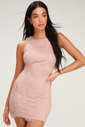 1378e9bf053 Ace of Lace Mauve Pink Lace Bodycon Mini Dress