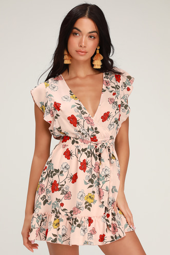 43a37d61bed Ok Cupid Pink Floral Print Mini Dress