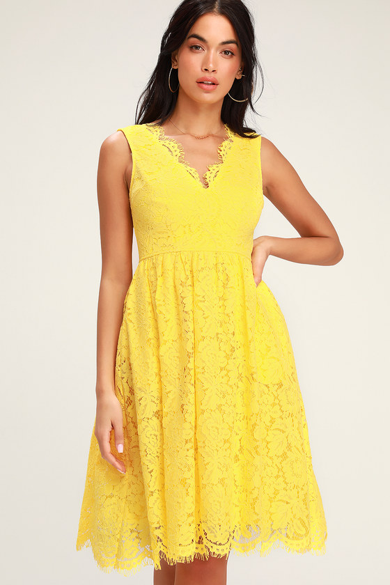 Yellow lace midi skater dress