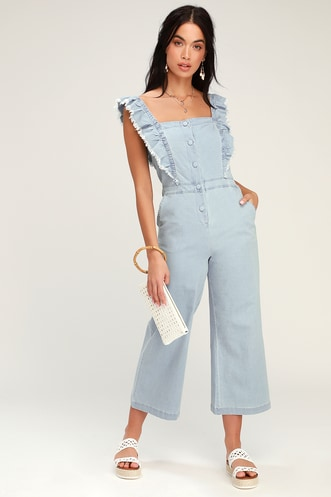 addf106f838 Yes Way Light Blue Chambray Culotte Jumpsuit