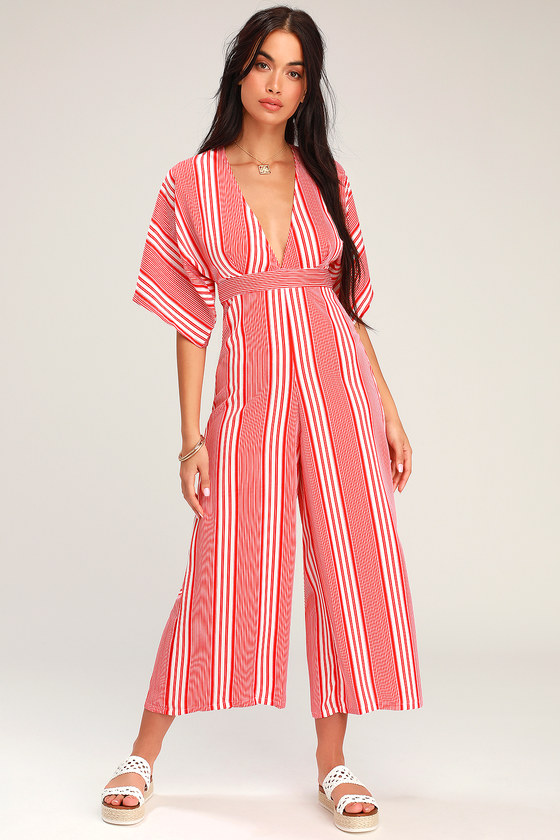 a332dcaccb143d Fun Red and White Jumpsuit - Striped Jumpsuit - Wide-Leg Jumpsuit