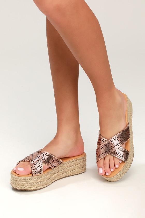 250cba14992 Cute Rose Gold Sandals - Flatform Sandals - Espadrille Sandals