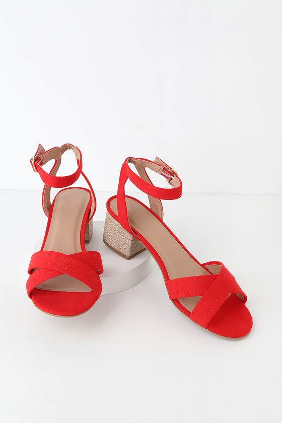 Red heeled sandals for commencement