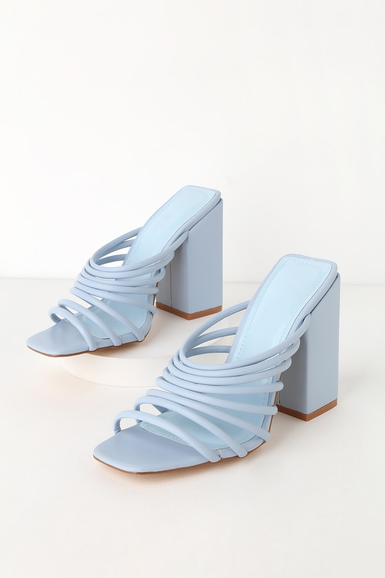 8d8b5cab35 Cute Strappy Heels - Blue High Heels - Strappy High Heel Mules