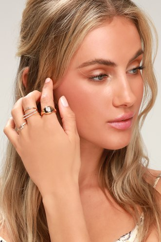 Manuelle Gold Rhinestone Ring Set