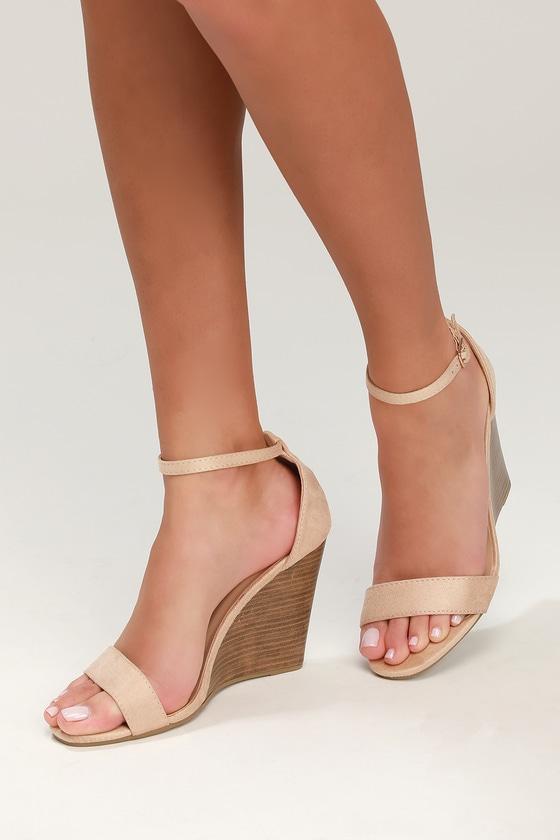 a7ddde0e0b9 Ramona Beige Suede Wedge Sandals