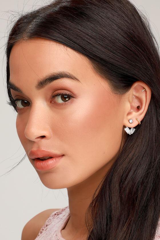 Dreamer Silver Rhinestone Peekaboo Earrings - Lulus
