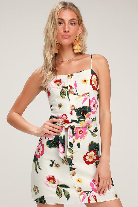 Tropical Breeze White Floral Print Mini Dress - Lulus