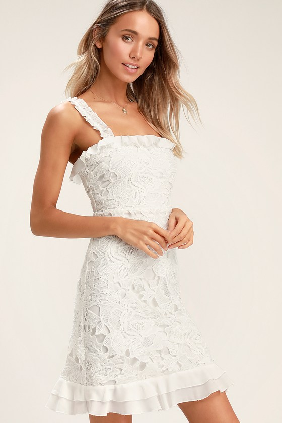 Deep In Love White Ruffled Lace Dress