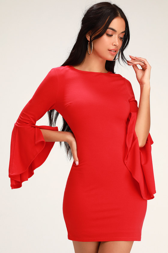61c9d935dee Chic Red Bodycon Dress - Flounce Sleeve Low Back Dress