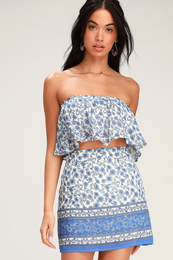 Catarina Blue and White Floral Print Mini Skirt - Lulus