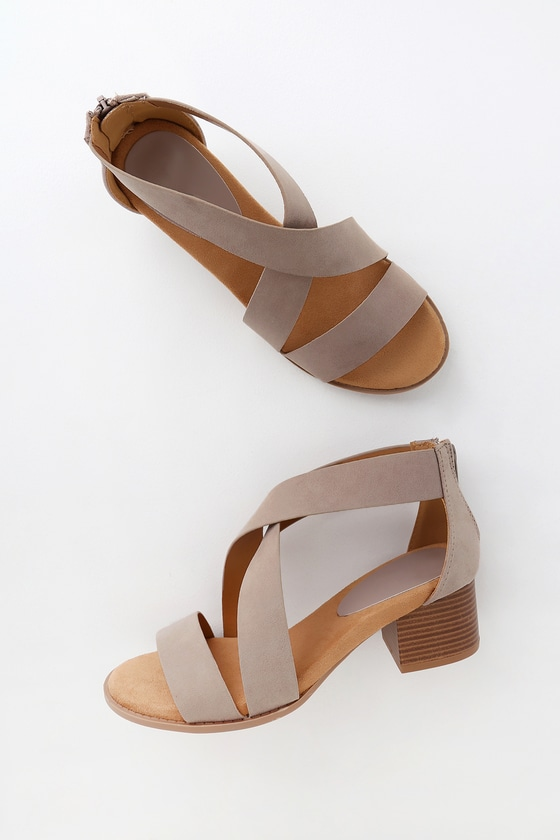 Taupe heeled sandals
