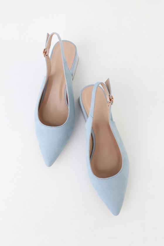 7e76eda2882 RAID Blue Suede Pumps - Slingback Pumps - Mid-Low Heels