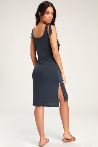 5e88112e5 Lulus Wear and Win Washed Navy Blue Tie-Strap Midi Dress