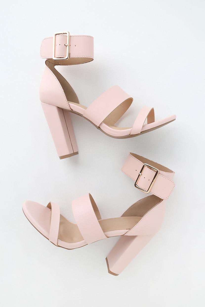 Blush Ankle Strap Heels