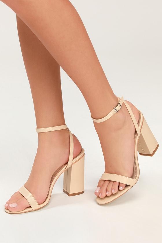 ddb3ff3fcf8 RAID Nude Heels - Ankle Strap Heels - Block Heels - Vegan Heels