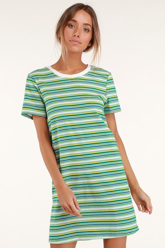 24df55a9ea2c63 Cute Green Striped Dress - T-Shirt Dress - Short Sleeve Dress