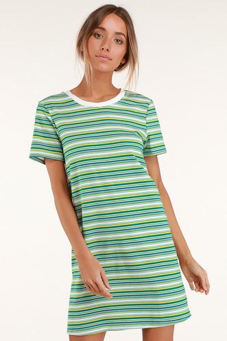 2c17d2cbb5 Binx Green Striped Short Sleeve Shirt Dress