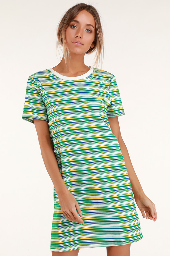 Binx Green Striped Short Sleeve Shirt Dress