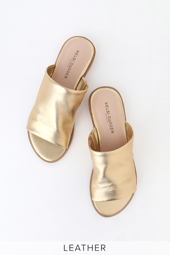 a99e4622a91 Ruthie Gold Rush Leather Slide Sandals
