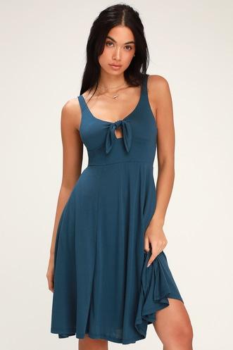 5a2493eaf5bdf Haileah Teal Blue Tie-Front Sleeveless Midi Dress
