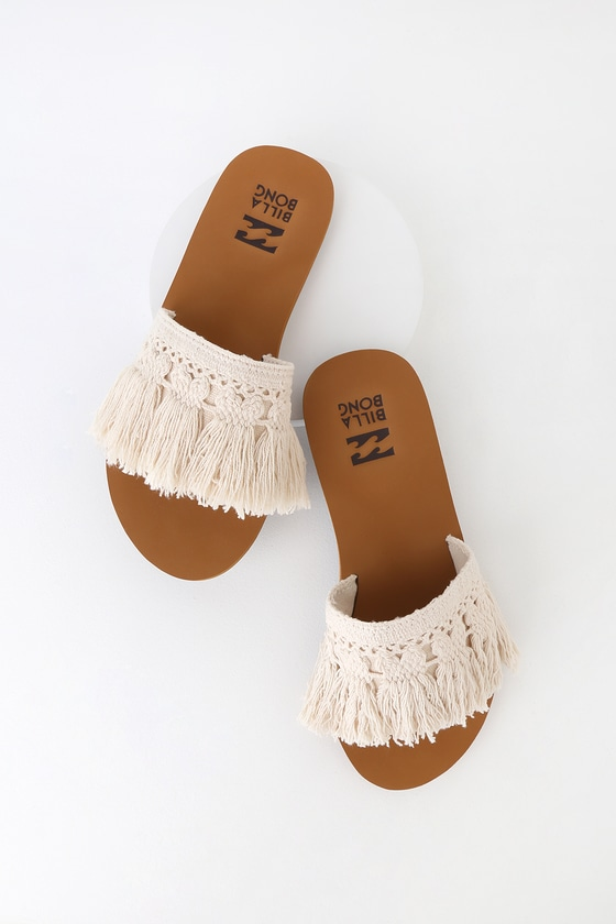 Slide Coastal Vibe Natural Sandals Tassel Fringe vYb7fIy6g
