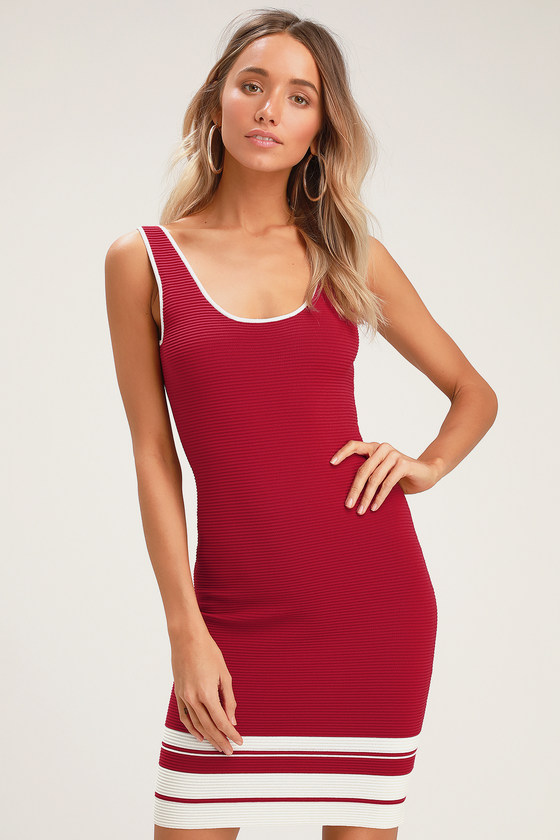 cec20207882d Cute Wine Red Striped Dress - Bodycon Dress - Ribbed Dress