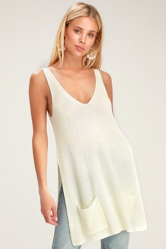 a90203cb081 Sweater This Way Ivory Sleeveless Sweater Top