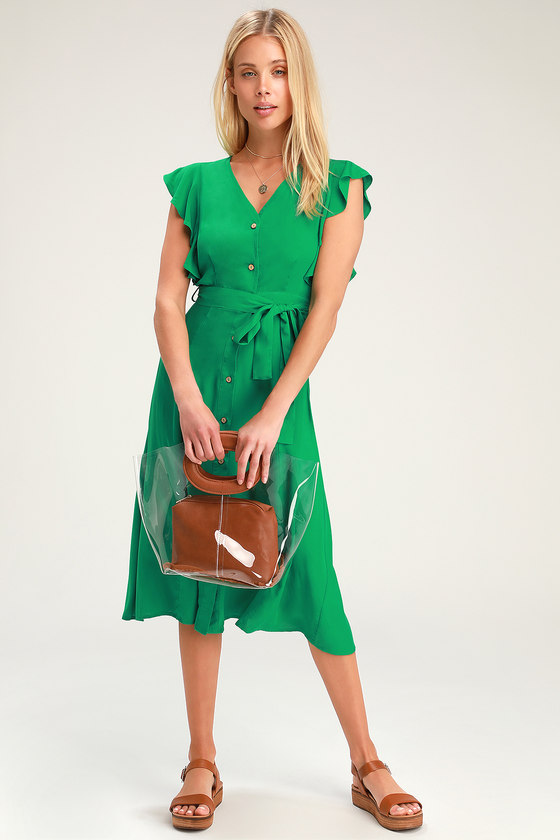 f2887b33f6ae Chic Green Dress - Green Midi Dress - Button-Front Midi Dress