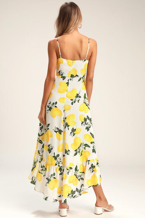 83a2e762023 Lemon Print Dress - High-Low Midi Dress - Ruffled Midi Dress