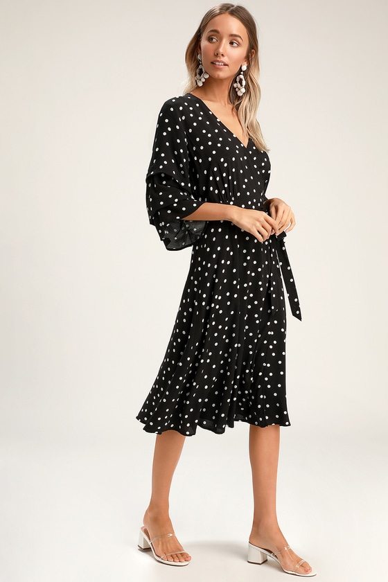 a0ac10ac8491 Chic Black Dress - Black Polka Dot Dress - Flounce Sleeve Dress