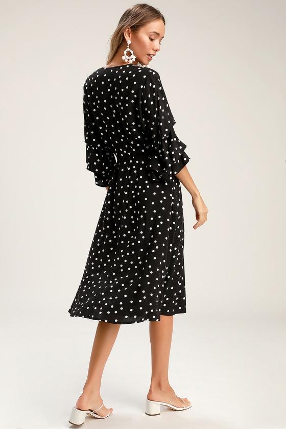 f7f94025c9b Chic Black Dress - Black Polka Dot Dress - Flounce Sleeve Dress