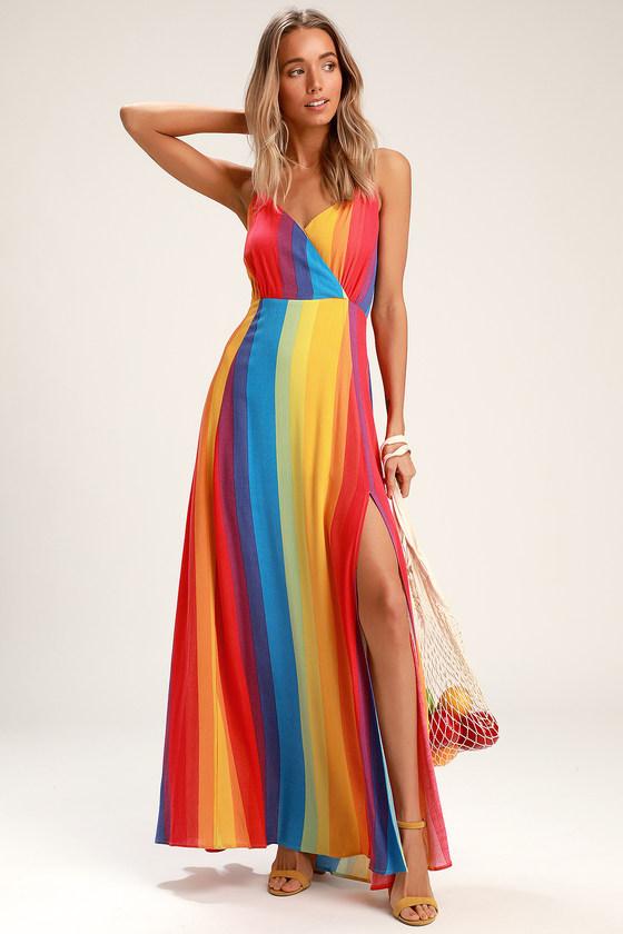 70s Prom, Formal, Evening, Party Dresses LaFern Rainbow Striped Sleeveless Maxi Dress - Lulus $59.00 AT vintagedancer.com