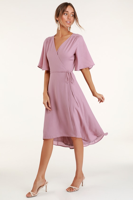 los angeles sale uk performance sportswear Cute Mauve Dress - Mauve Print Dress - Midi Wrap Dress - Dress