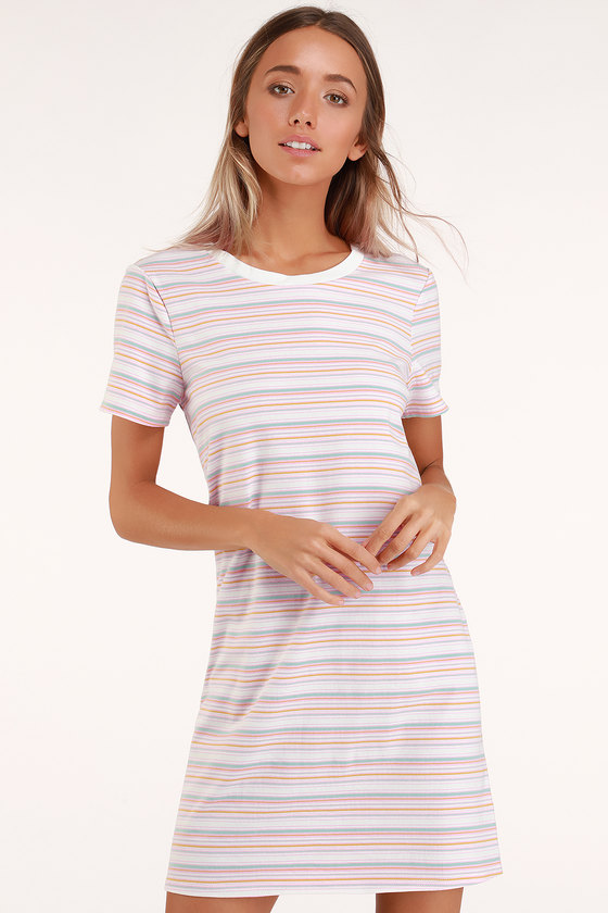 953e941cdd Cute Pink Striped Dress - T-Shirt Dress - Short Sleeve Dress