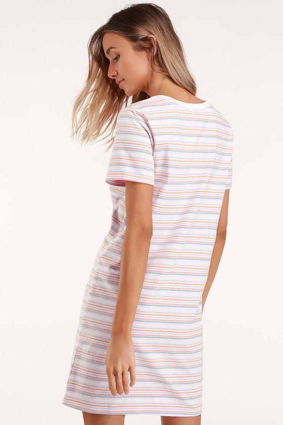 d873d87998c Cute Pink Striped Dress - T-Shirt Dress - Short Sleeve Dress