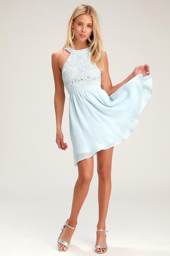 64bf48de9e6 Cute Light Blue Dress - Lace Dress - Halter Skater Dress