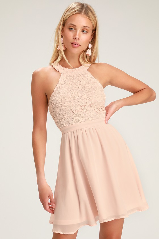0cc511c62025 Cute Blush Pink Dress - Lace Dress - Halter Skater Dress