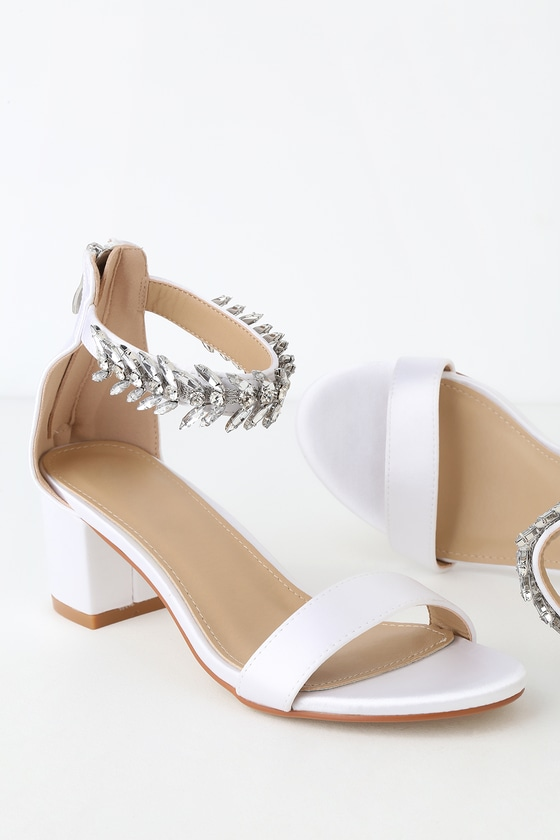 e8d1a5388 Lovely Ivory Satin Shoes - Rhinestone Heels - Ankle-Strap Heels
