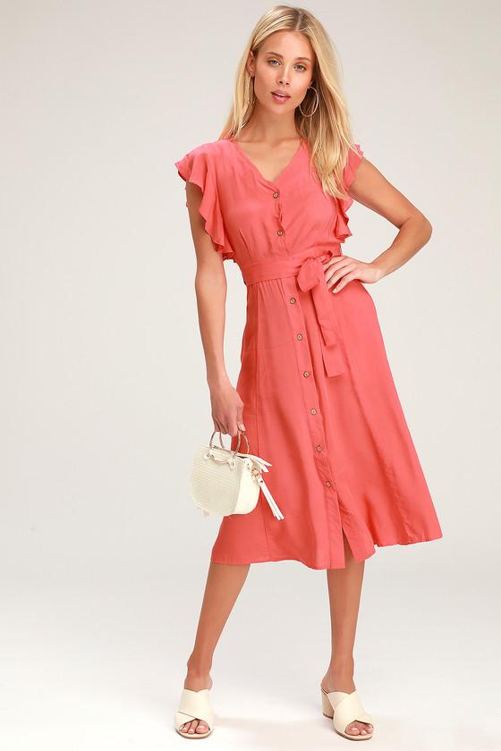 c39b4571de1 Chic Coral Dress - Coral Midi Dress - Button-Front Midi Dress