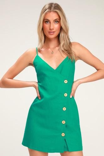 b1522f374765 Billie Green Button Front Mini Wrap Dress