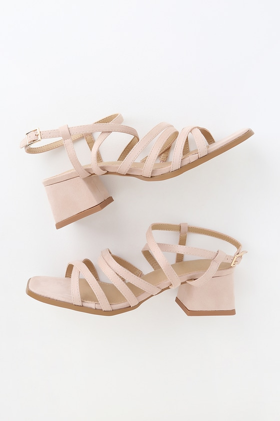 nude suede strappy sandals