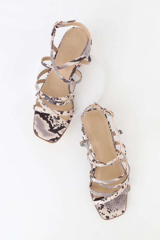 Snake Strappy Heel Sandals Vivi Natural High 5ARj4L