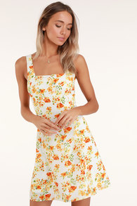1807643ce74 Day Date White and Orange Floral Print Tie-Back Dress