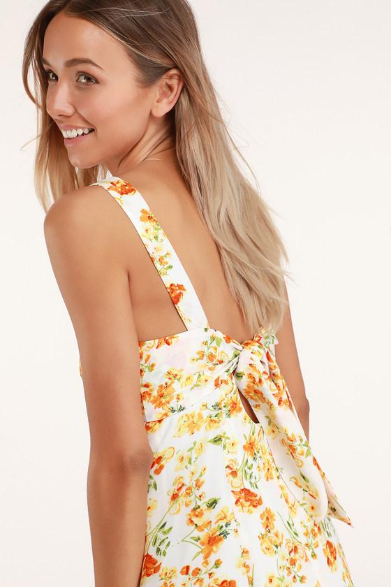 8e739c89be0 Cute Orange Floral Dress - Floral Mini Dress - Tie-Back Dress