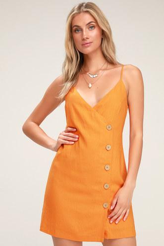 c6c321d4f Billie Orange Button Front Mini Wrap Dress